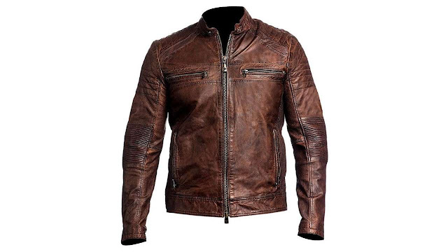 Café Racer Distressed Motorcycle Leather Jacket