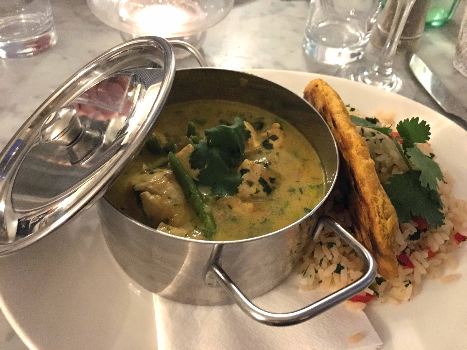 A review of Beck Hall Hotel and Bistro, Malham, Yorkshire Dales. The Secret Garden Bistro, Beck Hall, Malham, chicken curry