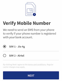 Verify mobile number on BHIM