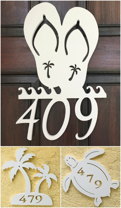 Coastal Beach Theme PVC White House Number Signs Plaques