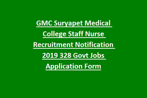 GMC Suryapet Medical College Staff Nurse Recruitment