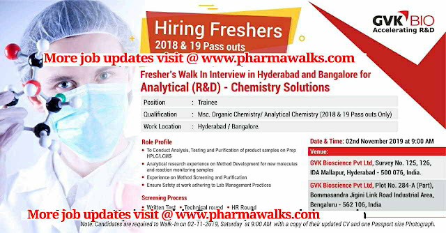 GVK Bio - Walk-in interview for Freshers on 2nd November, 2019 @ Hyderabad & Bangalore