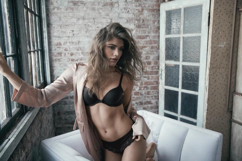Valentina Sampaio poses in Body by Victoria Victoria's Secret 2020 campaign