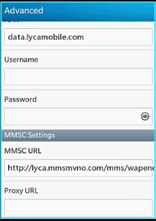New LycaMobile apn settings blackberry mms
