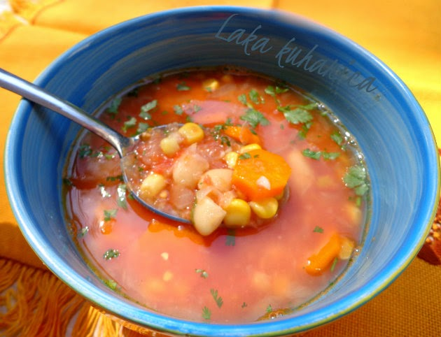 Soup with beans and corn by Laka kuharica: creamy in texture, yet light, aromatic and completely vegetarian.