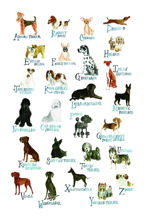 Watercolor Alphabet Dog Poster-size Print