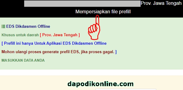 Tunggu Website PMP Dikdasmen Mempersiapkan File Prefill