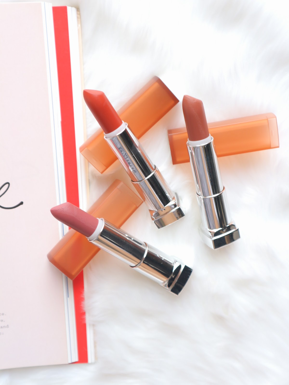 Maybelline Almond Pink Chili Nude Toasted Brown Lipstick Review Swatch