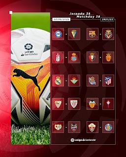جدول مباريات الجولة الأخيرة من الدوري الاسباني للموسم الجديد 2022