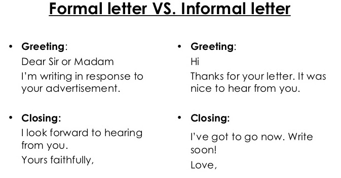the PEDAGOGY domain: Formal and Informal Letters