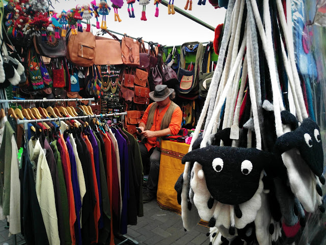 clothes and sheep bags at the market