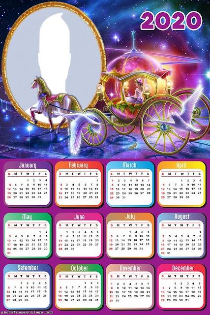 La Cenicienta: Calendario 2020 para Imprimir Gratis