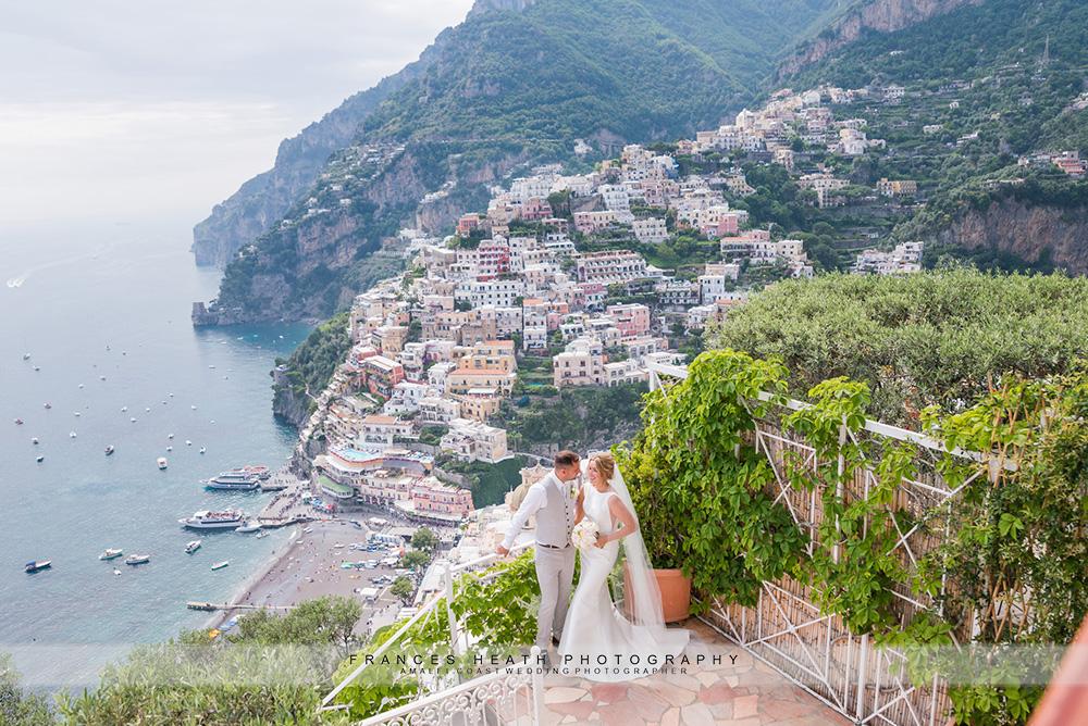 Positano bride and groom portrait