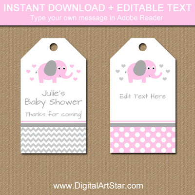 pink elephant hang tags for baby shower party