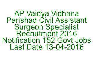AP Vaidya Vidhana Parishad Civil Assistant Surgeon Specialist Recruitment 2016 Notification 152 Govt Jobs Last Date 13-04-2016