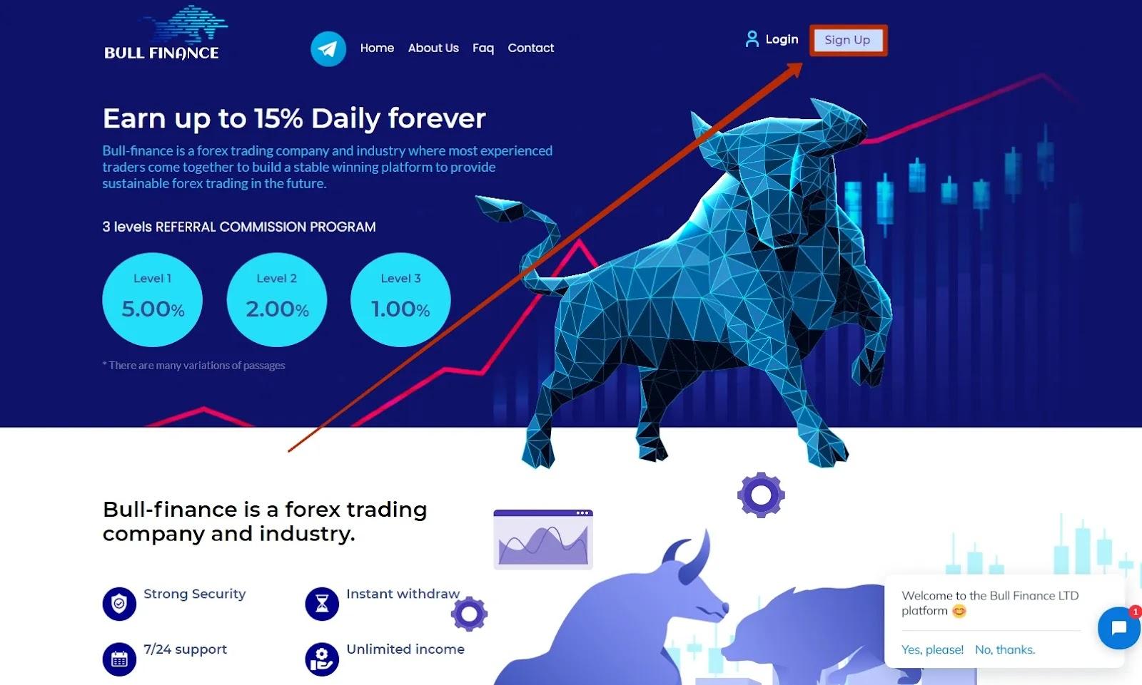 Регистрация в Bull Finance
