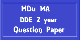 MA DDE 2nd Year Previous Question Paper Mdu