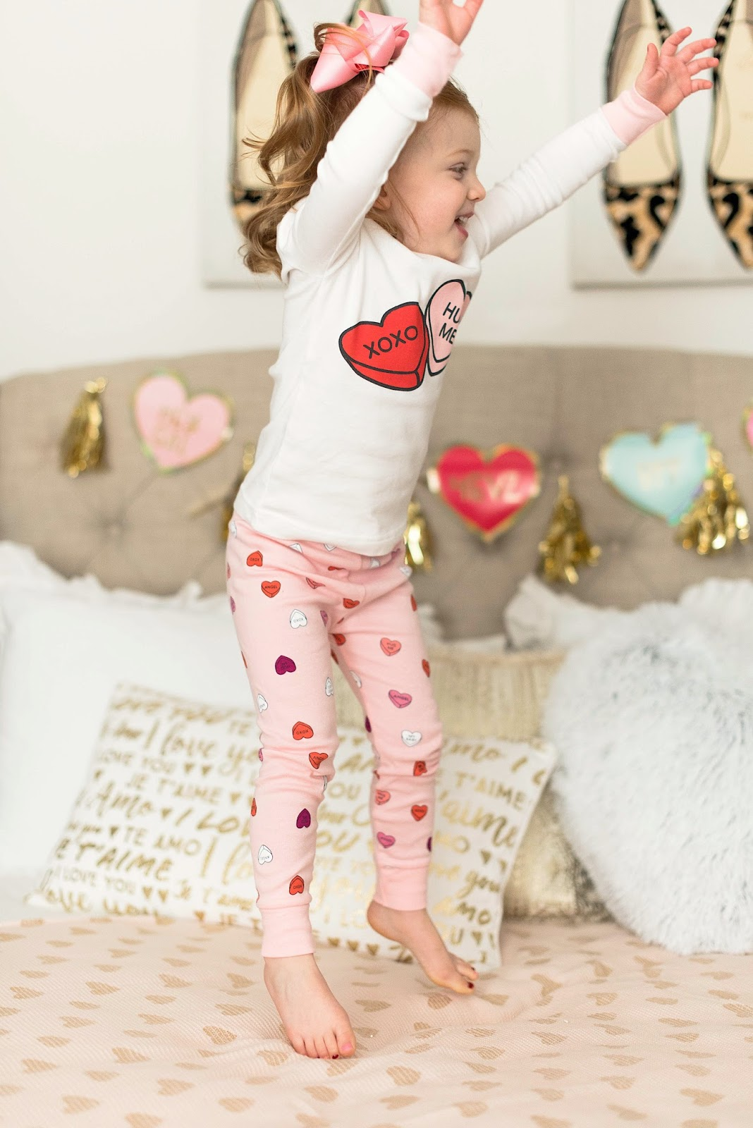 Toddler Valentine Pajamas - Click through to see more on Something Delightful Blog