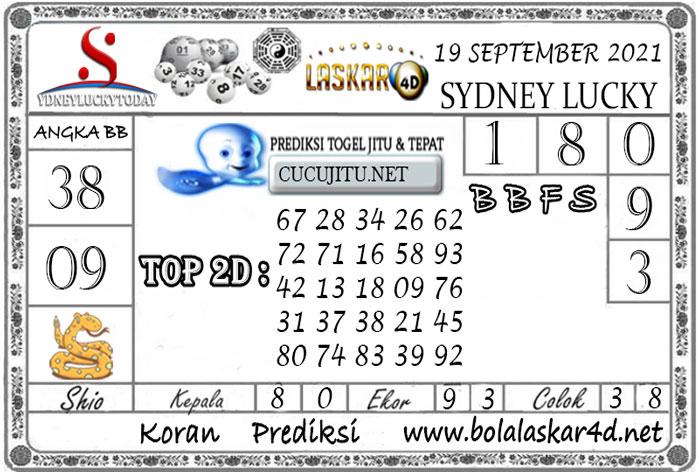Prediksi Togel Sydney Lucky Today LASKAR4D 19 SEPTEMBER 2021