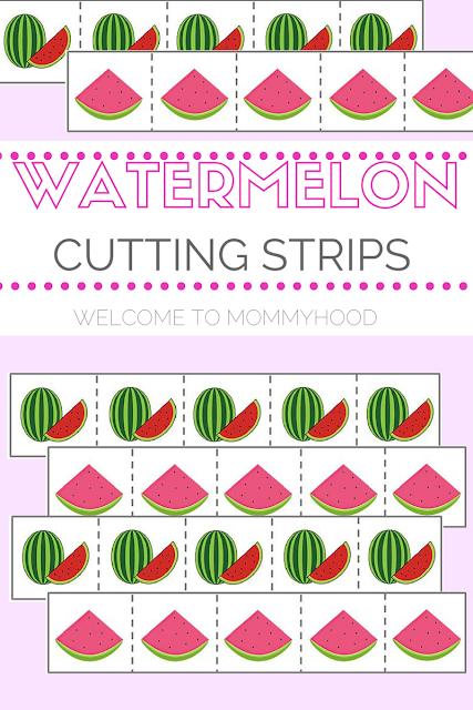 Summer activities for kids: free watermelon cutting strips #montessori, #preschoolactivities, #homeschool, #summeractivities