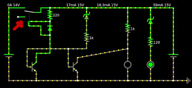 circuito alimentado pela bateria e o relê aberto