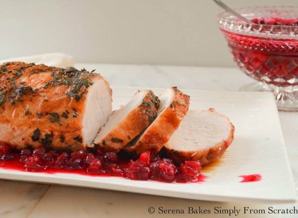 Rosemary Sage Pork Loin Roast with a zesty Cranberry Orange Sauce recipe is a great way to use up leftover Cranberry Sauce.