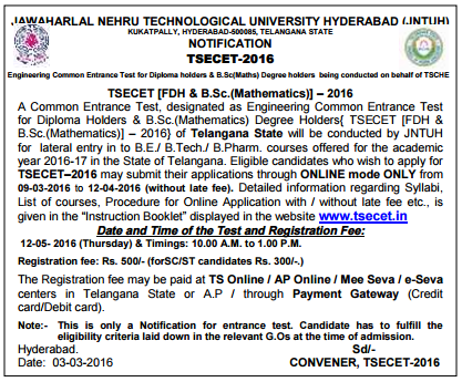 TS ECET 2017 Online Application TSECET Notification