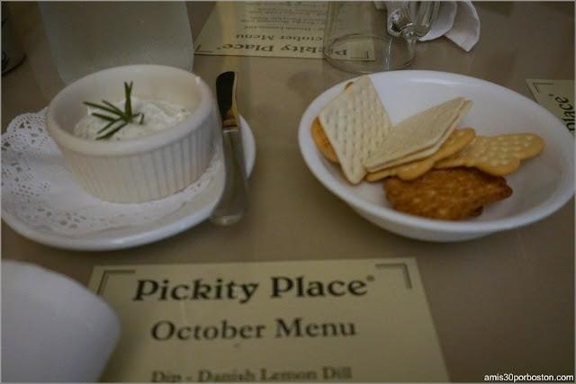 Dip de Aperitivo en el Menú de Pickity Place en Mason, New Hampshire