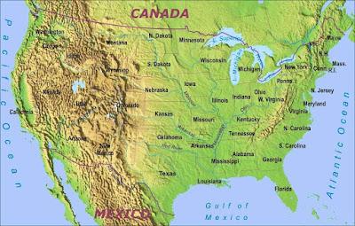 natural map of Usa