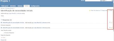 Acesso a opção 'Editar Mensagens em Fóruns' no Redmine