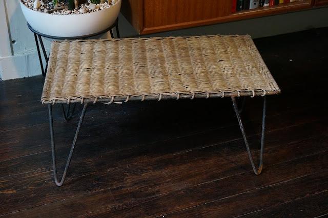 table années 50  50s table ferotin osier mategot style