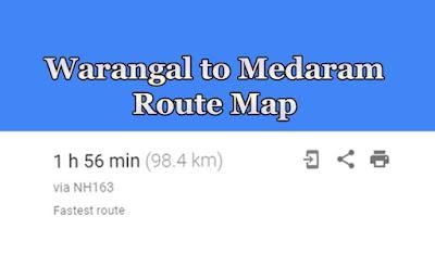 Warangal to Medaram jatara Route Map