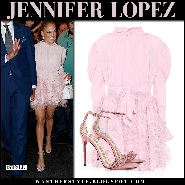 Jennifer Lopez in pink feather mini valentino dress and pink crystal sandals gucci celebrity night out style august 16
