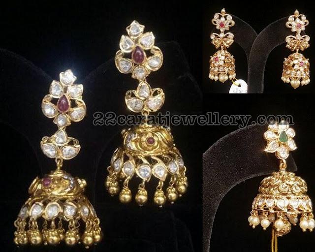 Moissanite Stones Nakshi Jhumkas by Premraj