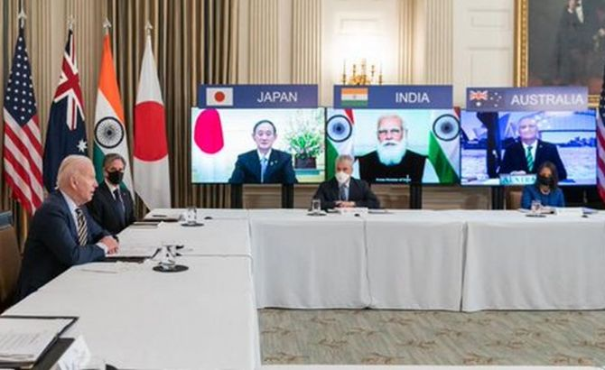 The quad group of four countries held a virtual meeting on Friday. The group includes the United States, India, Australia and Japan