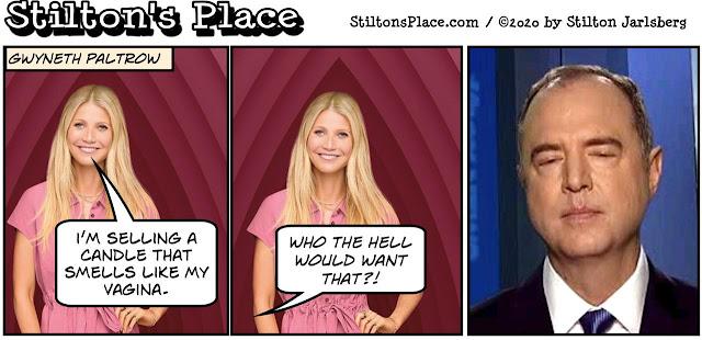 stilton's place, stilton, political, humor, conservative, cartoons, jokes, hope n' change, paltrow, vagina, candle, schiff