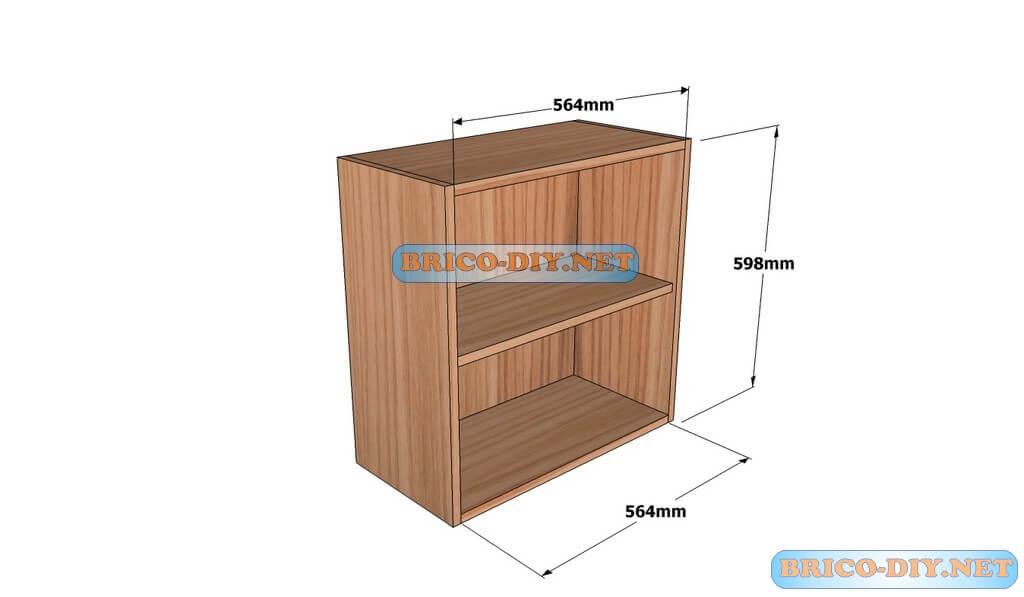 Mueble de cocina plano alacena de madera cedro 60 cm de for Como instalar una cocina integral pdf