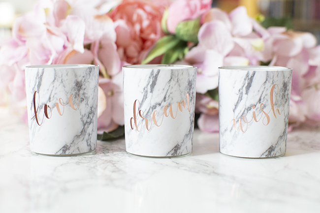 Marble & Rose Gold Votive Candles