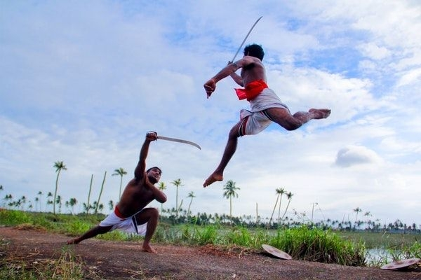 kalaripayattu - a martial art. here using swords