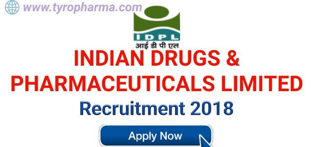 IDPL Recruitment for multiple posts for New Formulation Unit & ETP
