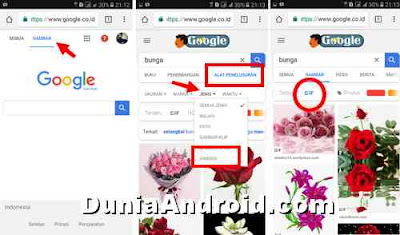 Cara mencari Gambar animasi di google search