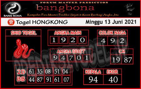 Prediksi Bangbona HK Minggu 13 Juni 2021