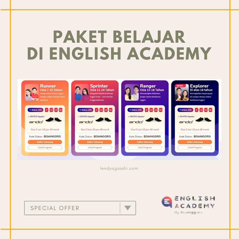 Les bahasa inggris terbaik dengan paket belajar di English Academy