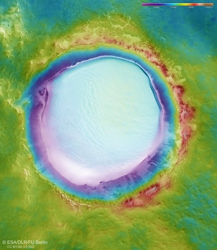Breathtaking Pictures Show Huge Crater On Mars Brimming With Water Ice