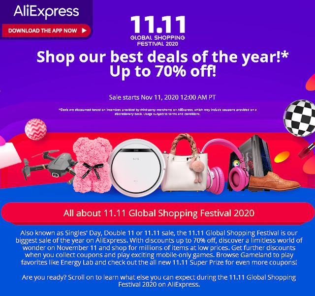 AliExpress 11.11 VÂNZĂRI  2020 → Pana la -70% Reduceri