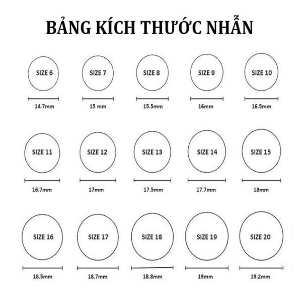 Bảng tính size nhẫn nam Việt Nam