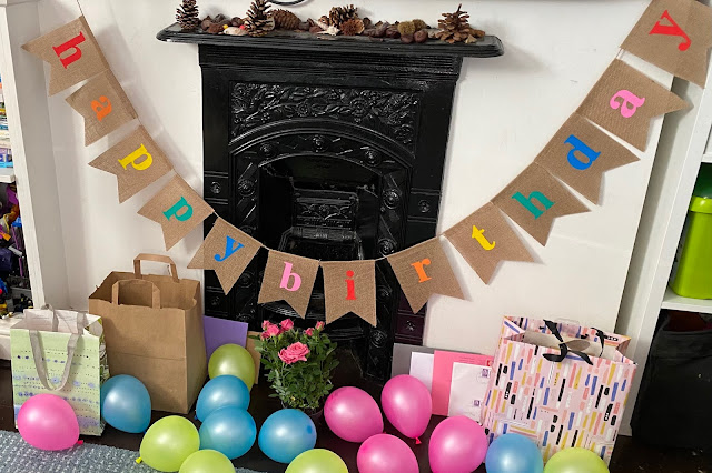 The birthday effort by my partner included birthday bunting and balloons