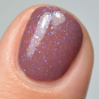 brown nail polish with shimmer