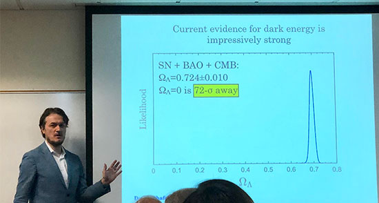 Dragan Huterer, U of Mich., addresses the UCI Philosophy of Dark Energy Workshop (Source: Palmia Observatory)