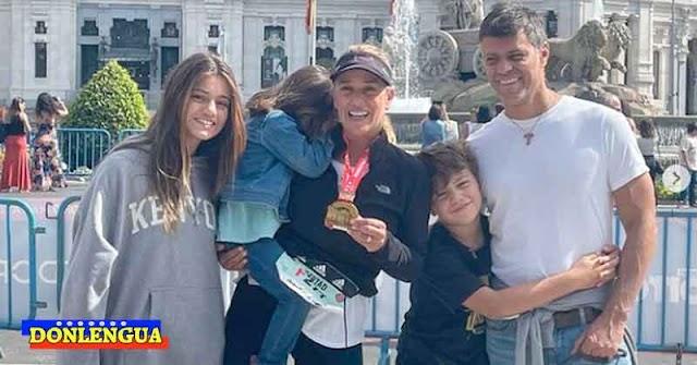 Lilian Tintori corrió el Maratón de Madrid y fue recibida en la meta por Leo y sus hijos